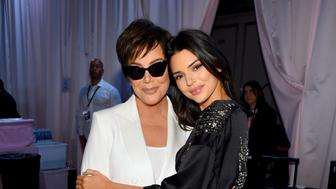 NEW YORK, NY - NOVEMBER 08:  Kris Jenner and Kendall Jenner pose backstage during the 2018 Victoria's Secret Fashion Show in New York at Pier 94 on November 8, 2018 in New York City.  (Photo by Dimitrios Kambouris/Getty Images for Victoria's Secret)