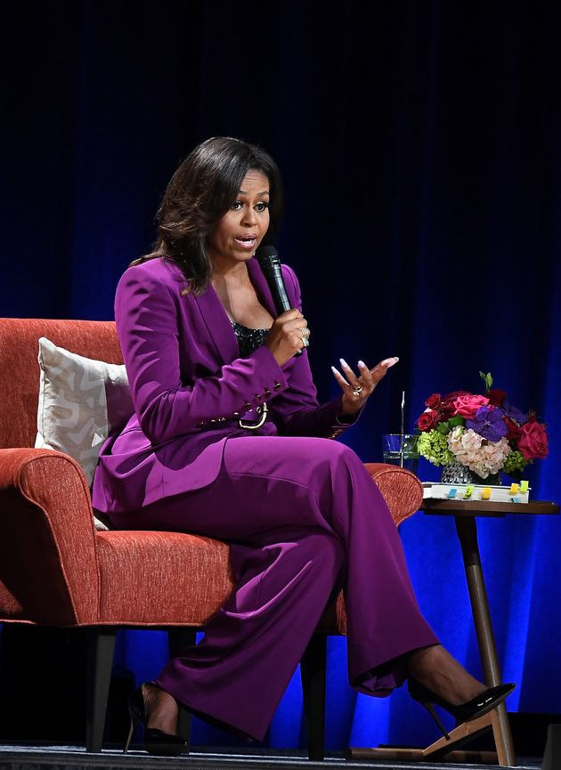 Michelle Obama's Purple Suit And Sequined Bustier Are A Showstopping