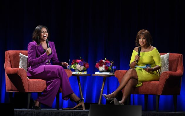 The book tour stop was moderated by Gayle King in a complementary