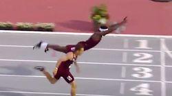 미국의 한 육상선수가 '슈퍼맨'이 되어 1등을