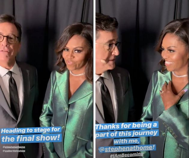 Stephen Colbert and Michelle Obama speaking before the final stop on her book