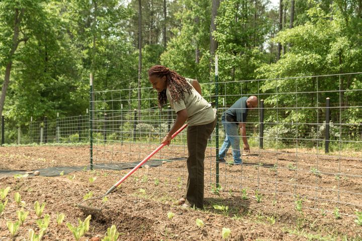 Keisha and Warren tend to their garden at their home.