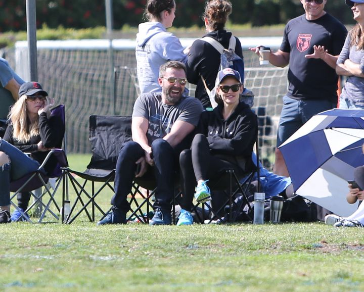 Ben Affleck and ex Jennifer Garner at their kids' soccer game in LA on Saturday, May 11.
