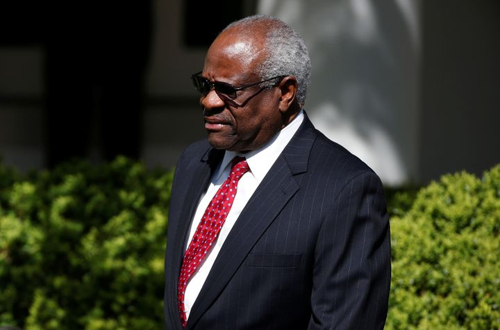 Justice Clarence Thomas arrives for the swearing in ceremony of Judge Neil Gorsuch in 2017.