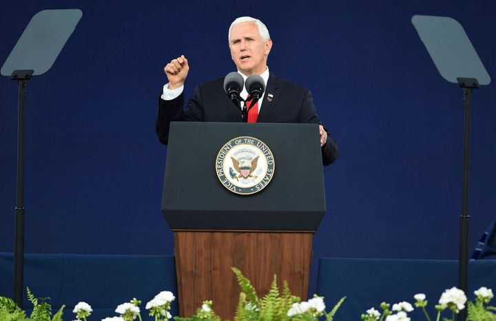 Vice President Mike Pence speaks at the Liberty University commencement ceremony in Lynchburg, Virginia, on Saturday.
