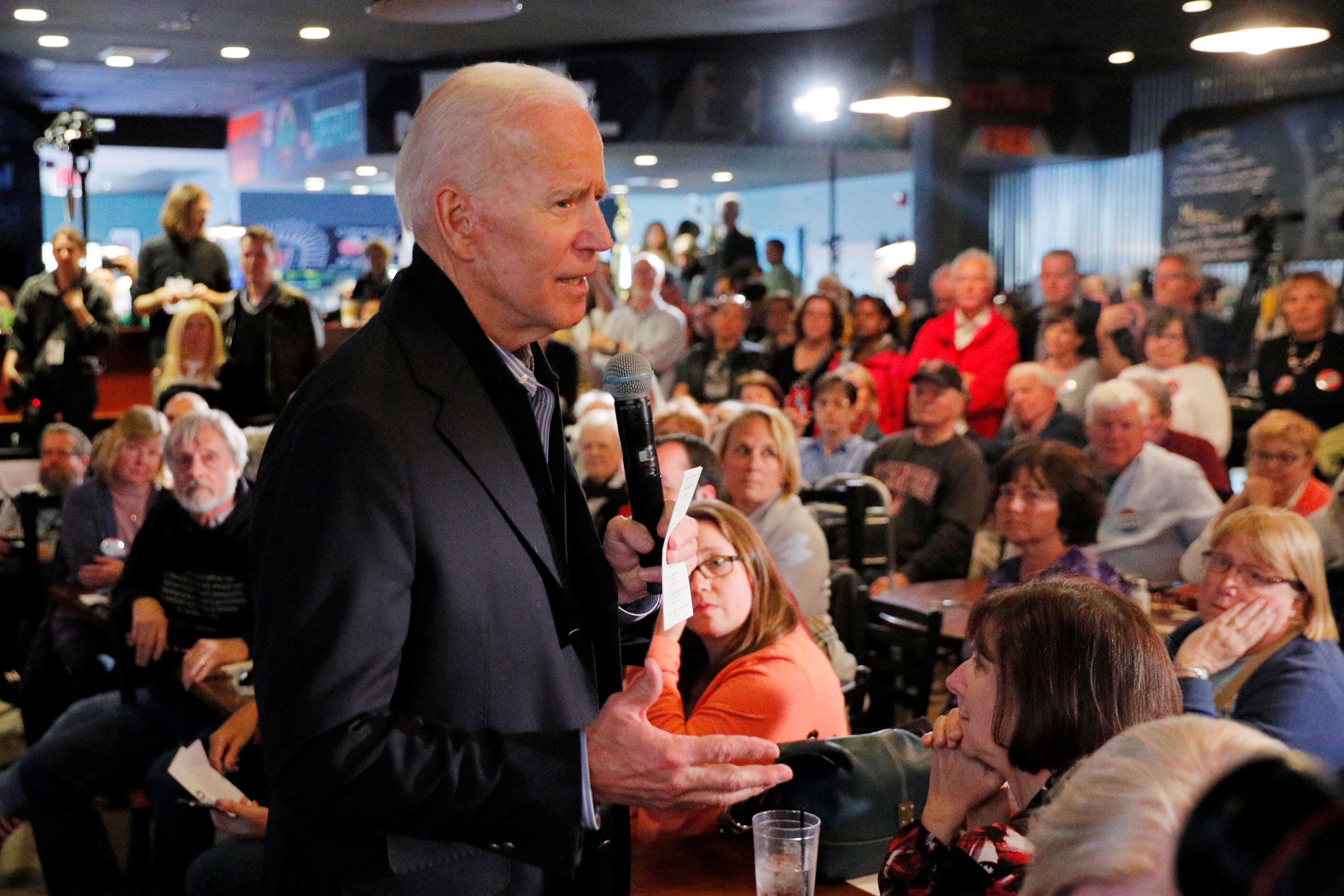 Former Vice President Joe Biden addresses prospective supporters in Hampton, New Hampshire, on Monday.