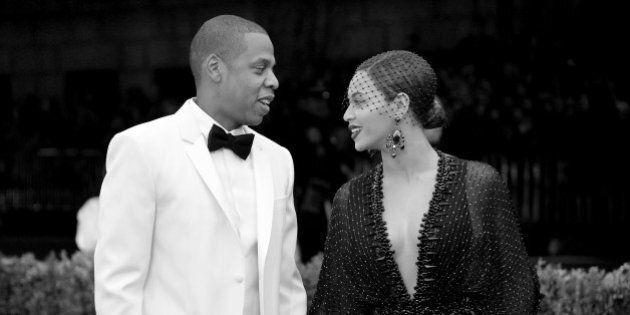 NEW YORK, NY - MAY 05: (EDITORS NOTE: Image was converted to black and white.) Jay-Z (L) and Beyonce...