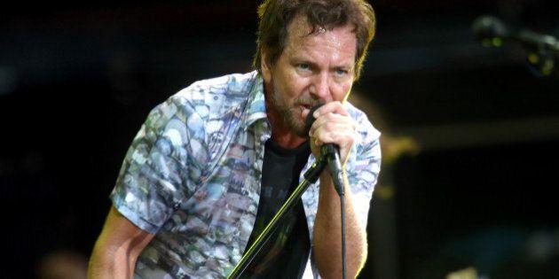 AUCKLAND, NEW ZEALAND - JANUARY 17: Eddie Vedder of Pearl Jam performing at Western Springs Stadium during...