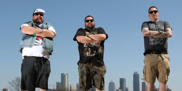 AUSTIN, TX - MARCH, 16 - Native American DJ trio 'A Tribe Called Red' from Ottawa, Canada during SXSW...