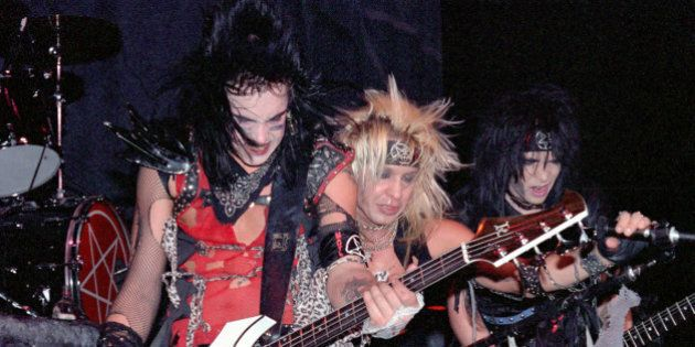 NEW YORK CITY, NY - JANUARY 15: Nikki Sixx, Vince Neil and Mick Mars of Motley Crue perform at Madison Square Garden on the Shout at the Devil tour on January 15, 1984 in New York City. (Photo by Larry Marano/Getty Images)