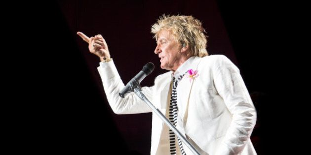 Rod Stewart performs in concert at Jones Beach Theatre on Wednesday, Aug. 20, 2014, in Wantagh, New York....