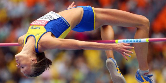 MOSCOW, RUSSIA - AUGUST 15: Emma Green Tregaro of Sweden competes in the Women's High Jump qualification...