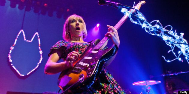 CHICAGO, IL - APRIL 02: Ritzy Bryan of The Joy Formidable performs at the Vic Theatre on April 2, 2013 in Chicago, Illinois. (Photo by Timothy Hiatt/Getty Images)