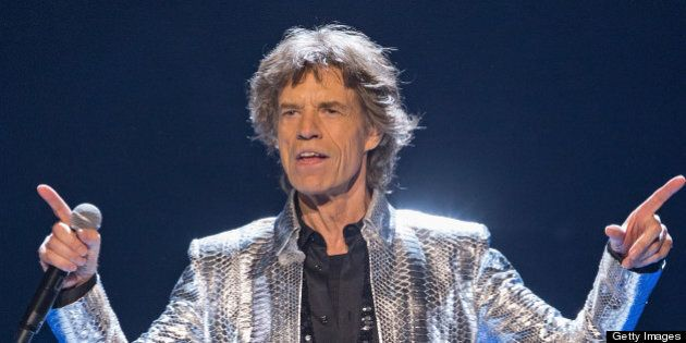 ANAHEIM, CA - MAY 18: Mick Jagger of the Rolling Stones performs at Honda Center on May 18, 2013 in Anaheim,...