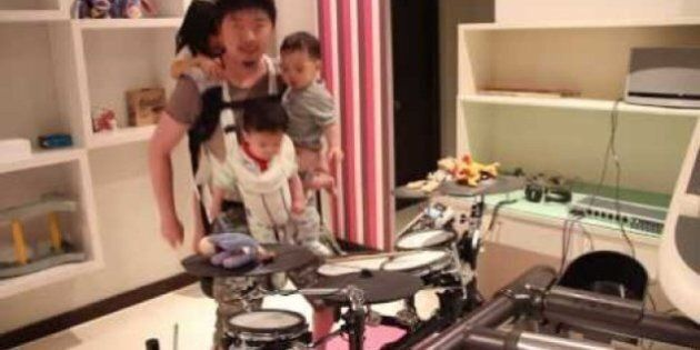 Diaper Duty Dad Rocks Out On Drums To