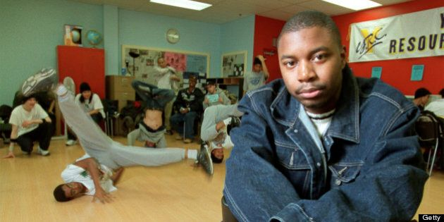 Spoken word performer Dwayne Morgan performs for Black History Month. Previews this weekend launches with Kuumba festival at Harbourfront. Dwayne volounters at the youth centre at Scaborough Town Centre.pics were taken there with neighbourhood kids doing break dancing in back. (Photo by Mike Slaughter/Toronto Star via Getty Images)