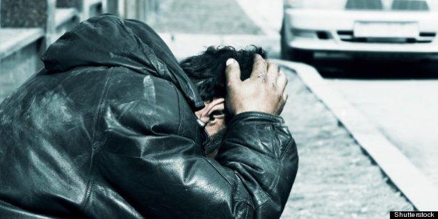homeless in despair.