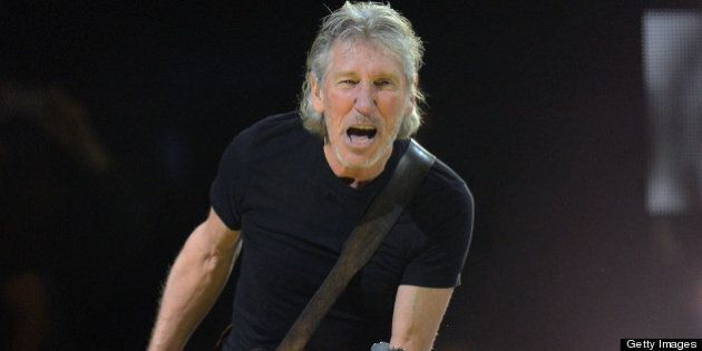 British musician Roger Waters performs during '12-12-12 The Concert For Sandy Relief' December 12, 2012...