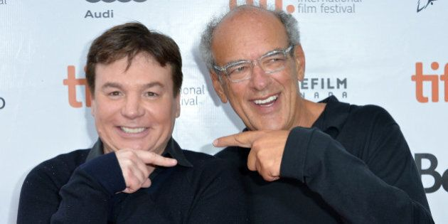 TORONTO, ON - SEPTEMBER 07:  Director Mike Myers (L) and documentary subject Shep Gordon attend the 'Supermensch: The Legend Of Shep Gordon' premiere during the 2013 Toronto International Film Festival at Princess of Wales Theatre on September 7, 2013 in Toronto, Canada.  (Photo by Alberto E. Rodriguez/Getty Images)