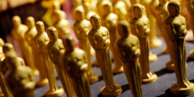 Chocolate Oscar statues with gold dust are pictured at the Governors Ball Press Preview for the 86th...