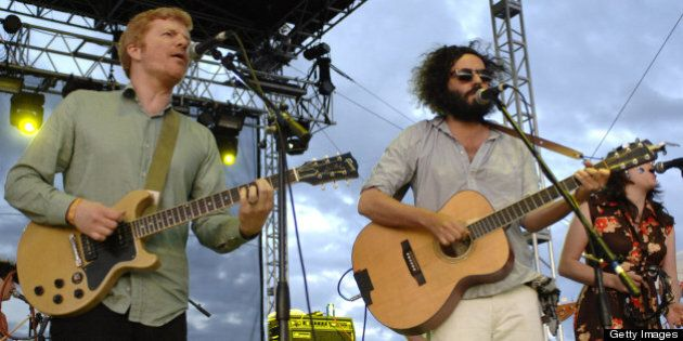 GEORGE, WA - MAY 31: Carl Newman (L) and Dan Bejar of The New Pornographers perform as part of the Sasquatch...