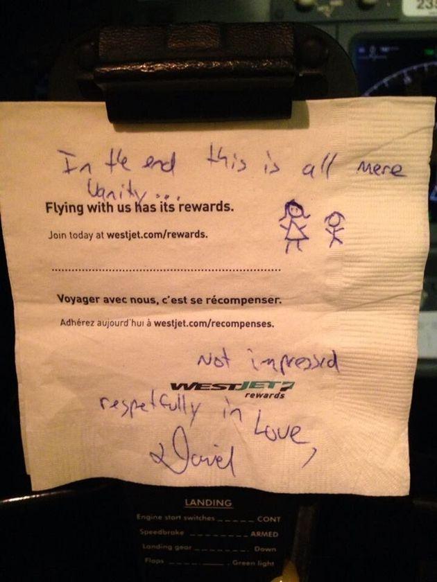 WestJet Pilot's Response To Sexist Napkin Message Is All