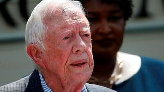 """ATLANTA — Former U.S. President Jimmy Carter broke his hip Monday at his Georgia home, underwent successful surgery and was recovering comfortably, a spokeswoman for the Carter Center said.Carter was on his way to go turkey hunting, the spokeswoman, Deanna Congileo, said in a statement. She said that he was treated in Americus, Georgia, near his home in Plains, and that his wife, Rosalynn, was with him.In the statement, Congileo said: """"President Carter said his main concern is that turkey season ends this week, and he has not reached his limit. He hopes the State of Georgia will allow him to rollover the unused limit to next year.""""Carter, 94, disclosed in 2015 that cancer that had been discovered on his liver and had also been found on his brain. He received treatment for seven months until scans showed no sign of the disease.At the time he revealed the cancer, he said he felt """"perfectly at ease with whatever comes.""""""""I've had a wonderful life,"""" he said. """"I've had thousands of friends, I've had an exciting, adventurous and gratifying existence.""""The Associated Press"""