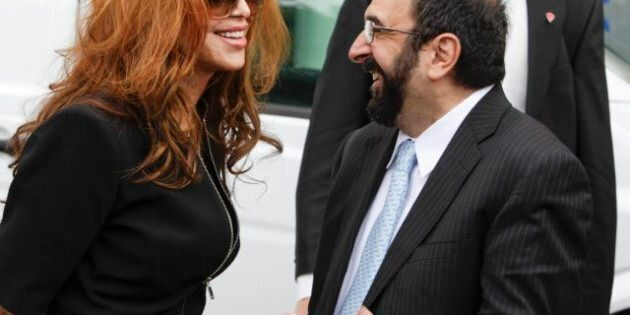 US anti-Islam activists Pamela Geller (L) and Robert Spencer chat ahead of an anti-Islam demonstration...