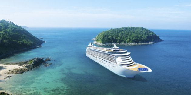 3D Cruise Ship in Beautiful Ocean with Blue