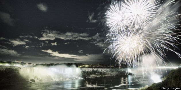 Fireworks over Niagara Falls on Victoria