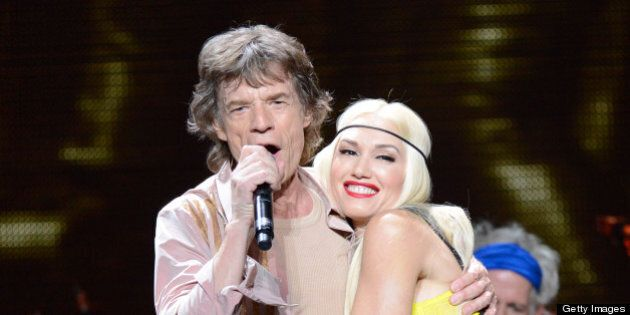 LOS ANGELES, CA - MAY 03: (Exclusive Coverage) Mick Jagger and Gwen Stefani perform on stage during the...