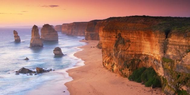The Twelve Apostles landmark off Australia's Great Ocean Road at sunrise.