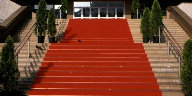 Festival hall and pavilion for annual film festival showings. The red carpet leading up steps for the...