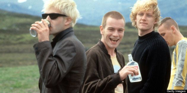 From left to right, Jonny Lee Miller, Ewan McGregor, Kevin McKidd and Ewan Bremner in a scene from the film 'Trainspotting', 1996. (Photo by Miramax/Getty Images)