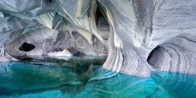 PATAGONIA, CHILE - UNDATED: (EXCLUSIVE COVERAGE) A general view of the Marble Cathedral on Lake Carrera...