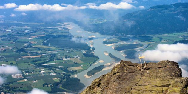 A breathtaking view to Great Vancouver Area in Fraser River valley from the top of Mount Cheam peak