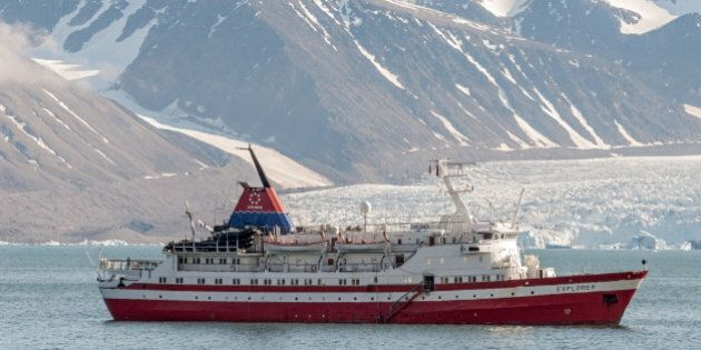 SVALBARD, NORWAY - 2007/07/07: MS Explorer in the harbour Ny Alesund. (Photo by Olaf Protze/LightRocket...