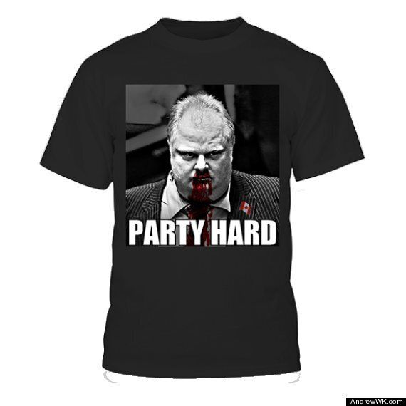 Andrew WK's 'Rob Ford Party Hard' T-Shirt For Sale In Time For The