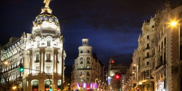 Light trails of traffic on the famous Gran Via.