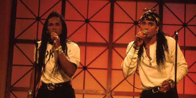 Pop duo Milli Vanilli (L-R) Fabrice Morvan and Rob Pilatus performing. (Photo by Time Life Pictures/DMI/Time...