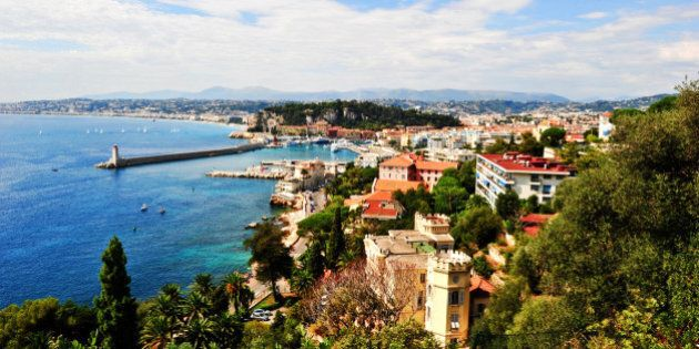 Panoramic view of Nice and the lighthouse in the French Riviera