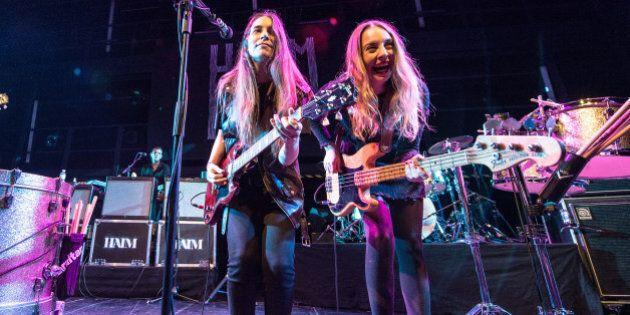 PARIS, FRANCE - NOVEMBER 30: Danielle Haim and Este Haim from Haim perform at La Gaite Lyrique on November...