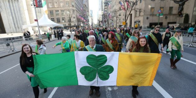 NEW YORK, NY - MARCH 17:  Participants march in the 255th annual St. Patricks Day Parade along Fifth Avenue in New York City on March 17, 2016 in New York City.  (Photo by Jemal Countess/Getty Images)