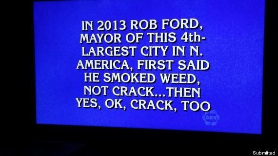 Rob Ford 'Jeopardy!' Question Pokes Fun At Mayor's Crack Use