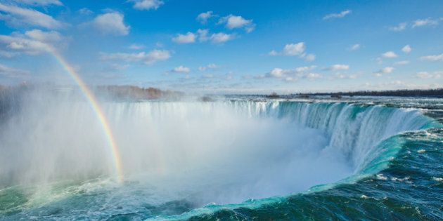 The Horseshoe Falls with a rainbow with scattered clouds in the sky.