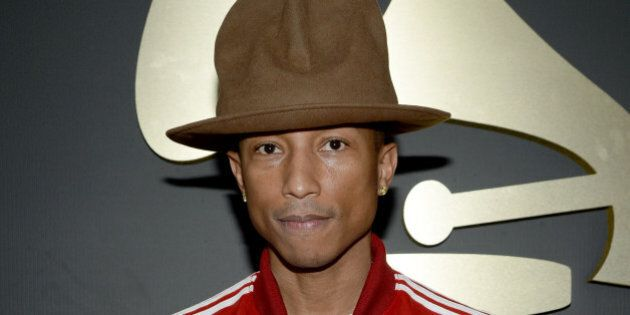 LOS ANGELES, CA - JANUARY 26: Recording artist Pharrell Williams attends the 56th GRAMMY Awards at Staples...