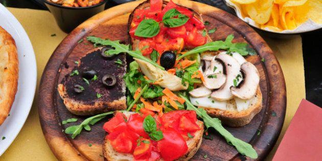 Pizza romana and salads. Rome,