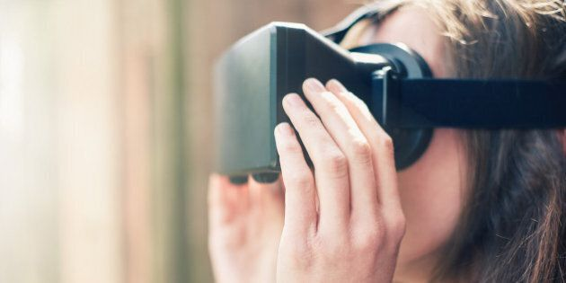 Woman using a virtual reality