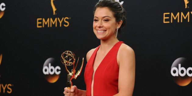 LOS ANGELES, CA - SEPTEMBER 18: Actress Tatiana Maslany poses in the press room at the 68th annual Primetime...