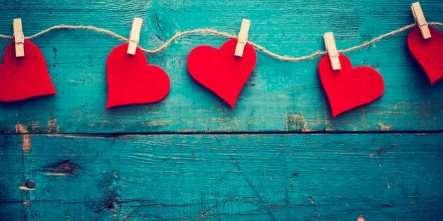 Valentines day hearts on wooden